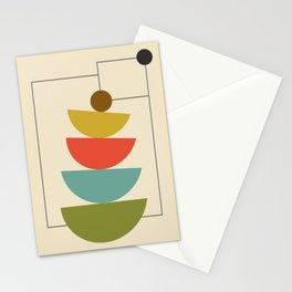 Mid-Century Modern Half Circles - Multi Stationery Cards