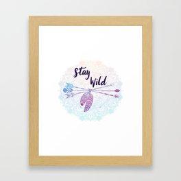 Stay Wild - Boho Arrows Mandala Feathers Framed Art Print
