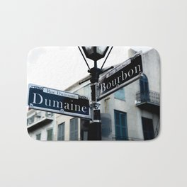 Dumaine and Bourbon - Street Sign in New Orleans French Quarter Bath Mat