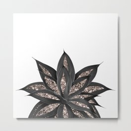 Gray Black Agave with Rose Gold Glitter #2 #shiny #tropical #decor #art #society6 Metal Print