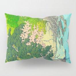 Vintage Japanese Woodblock Print Beautiful Water Creek Grey Rocks Green Trees Pillow Sham