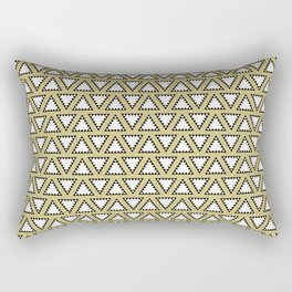 Gold, white and black geometric triangle pattern. Manchester Architecture Collection Rectangular Pillow