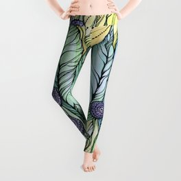 Dandelions.Hand draw  ink and pen, Watercolor, on textured paper Leggings