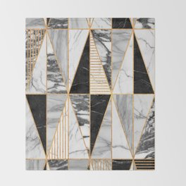 Marble Triangles - Black and White Throw Blanket