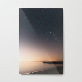 Beautiful starry scene at the coast of 'Colonia, Uruguay'. Long exposure with light pollution. Metal Print