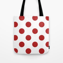 Large Polka Dots - Firebrick Red on White Tote Bag