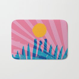 Yellow sun in the pink sky of the French Riviera Bath Mat