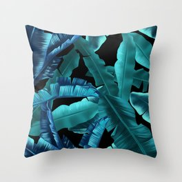 tropical banana leaves pattern turquoise 2 Throw Pillow