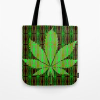 marijuana Tote Bags featuring Marijuana Leaf by Trusty Russ Tees