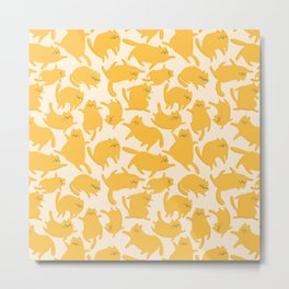 Yellow Cats Pattern Metal Print