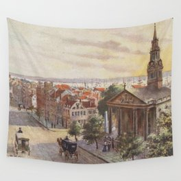 Vintage Broadway NYC Artwork (1840) Wall Tapestry