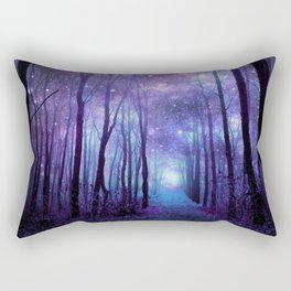 Fantasy Forest Path Icy Violet Blue Rectangular Pillow