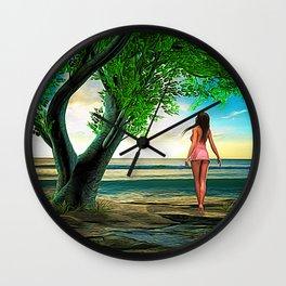 Woman at Paradise Beach Wall Clock