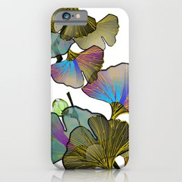minimal line art color gingko leaves blossoms iPhone Case