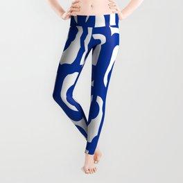 Bright Blue and White Mid-century Modern Loop Pattern  Leggings
