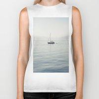 sailboat Biker Tanks featuring Sailboat by Jakub Majewski