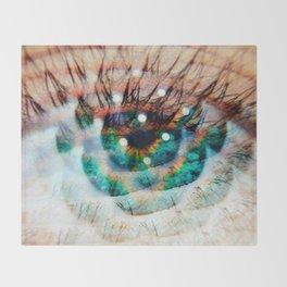 Green Eyes Hypnotize Throw Blanket