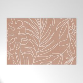 Engraved Tropical Line Welcome Mat