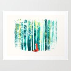 Fox in quiet forest Art Print