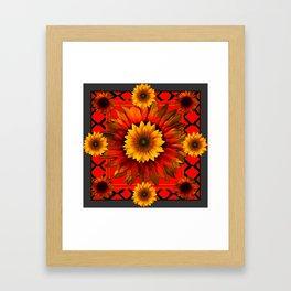 RICH BURNT ORANGE YELLOW SUNFLOWERS Framed Art Print