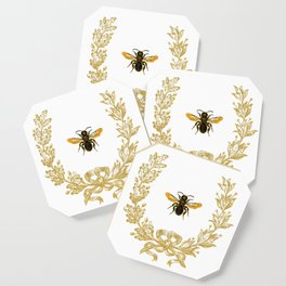French Bee acorn wreath Coaster
