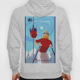 Retro ski Rocky Mountain poster Hoody
