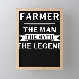 Farmer Man Myth Legend Farm Farming Ranch Tractor Gift Framed Mini Art Print