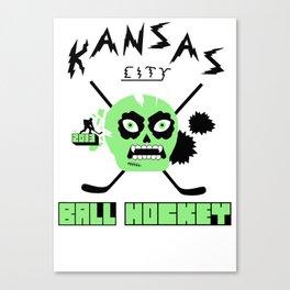 Kansas City Ball Hockey Thrashed Skull [Green] Canvas Print
