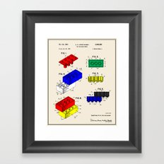 Lego Building Brick Patent - Colour Framed Art Print