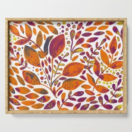Watercolor branches and leaves - orange and purple Serving Tray