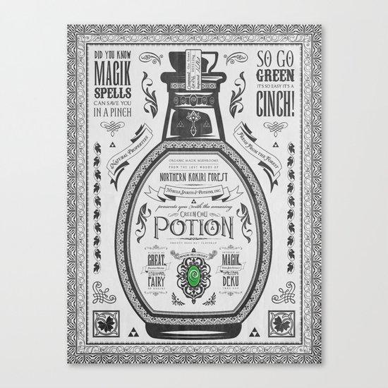 Legend of Zelda Green Chu Potion Advertisement Canvas Print