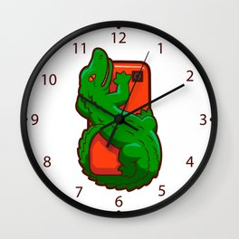 Cartoon crocodile on a cell phone Wall Clock