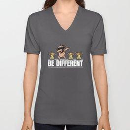 Funny Be Different Pug Dog Mom Dog Papa Dog Unisex V-Neck