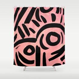 Pink Tribal Graffiti Shower Curtain