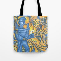 saxophone Tote Bags featuring Saxophone by tempehmonster