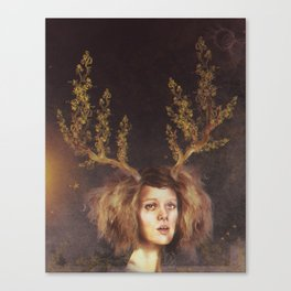 The Golden Antlers Canvas Print