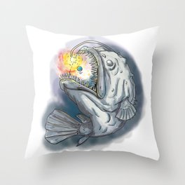 Anglerfish Swooping up Solar System Lure Watercolor Throw Pillow