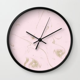Luxe gold and blush marble image Wall Clock