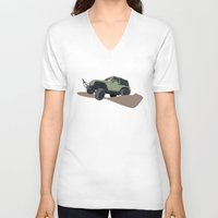 jeep V-neck T-shirts featuring JEEP by LEIGH ANNE BRADER