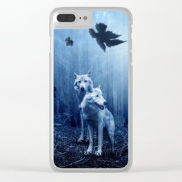 Fantasy Wolves Clear iPhone Case