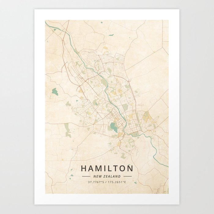 Hamilton Map New Zealand.Hamilton New Zealand Vintage Map Art Print By Designermapart