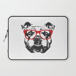 Portrait of English Bulldog with glasses. Laptop Sleeve