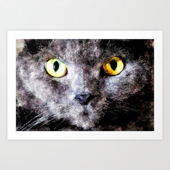 Black cat - Animal Watercolor Illustration Art Print