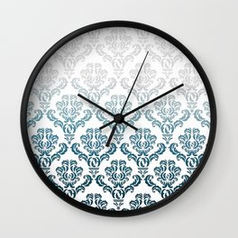 DAMASK GREY TO TEAL Wall Clock