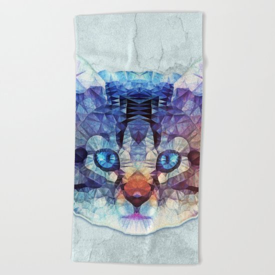 abstract kitten Beach Towel