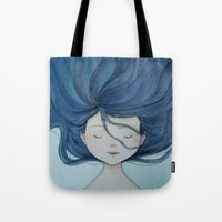 little mermaid Tote Bags featuring Little Mermaid by Grazia Vincoletto