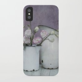 Shabby French chic-vintage metal jugs with flowers iPhone Case