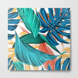 Colorful Tropical Jungle Leaves Metal Print