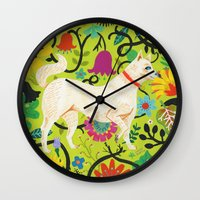 calendars Wall Clocks featuring Spring Jindo Dog by Janna Morton