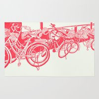 tokyo Area & Throw Rugs featuring On Paper: Tokyo Bicycles by Anton Marrast